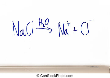 chemical equation on whiteboard - an equation (chemistry)...