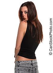 Brunette - Pretty slender brunette in a sleeveless tee