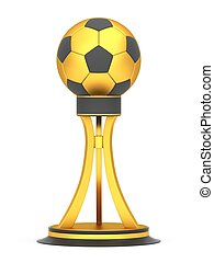 Award football trophy cup isolated on a white background
