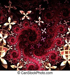Yellow and red fractal flower pattern - Colorful fractal...