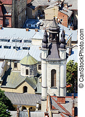 Old Church in Lvov,Ukraine.View from city hall