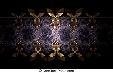 Yellow and violet fractal flower pattern - Colorful fractal...