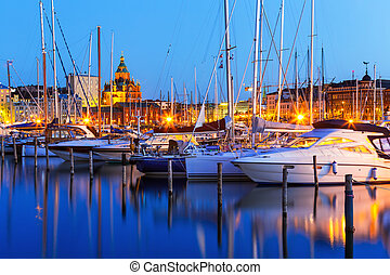 Old Town in Helsinki, Finland - Scenic summer evening...