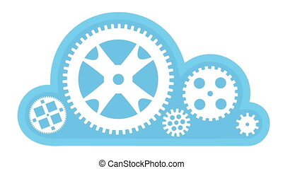 Cloud Computing Turning Gears - Animation of white gears...