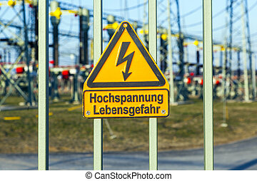 warning of electric shock in the power plant - warning of...