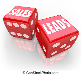 Sales Leads Words Red Dice Gambling New Business Customers -...