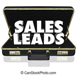 Sales Leads Briefcase Words New Customers Prospects...