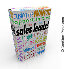 Sales Leads words on a product box or package to illustrate...