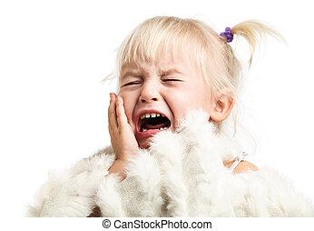 Little girl screaming over white - Little girl screaming...