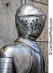 Hjälm, bröstharnesk, rustning, specificera, spansk, militär
