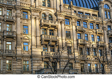 facade of houses from the late 18th century in Frankfurt