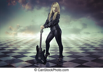 Young girl with black electric guitar.gamero chess, pieces marble floor