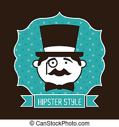 hipster design over black background vector  illustration