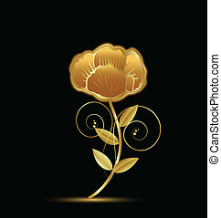 Gold vintage flower design