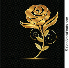 Gold vintage flower icon - Gold vintage flower background