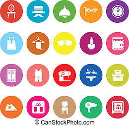 Dressing room flat icons on white background, stock vector