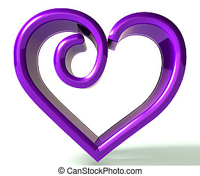 Purple swirly heart 3d image - 3d valentines day symbol...