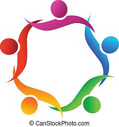 Teamwork hug symbol logo