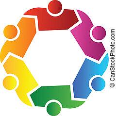 People teamwork in a hug logo