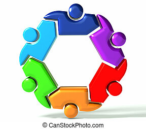 People teamwork business symbol 3D - People teamwork in a...