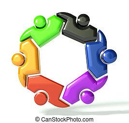 People teamwork in a hug symbol 3D design