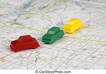 3 Plastic Cars Convoying - Red,green,yellow plastic cars...