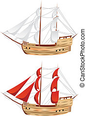 Vintage Sailing Ship - Old classic sailing ship under full...