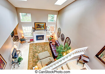 Panoramic view of luxury living room - High vaulted ceiling...