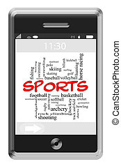 Sports Word Cloud Concept on Touchscreen Phone - Sports Word...