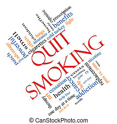 Quit Smoking Word Cloud Concept Angled - Quit Smoking Word...