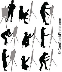 artist paints at easel