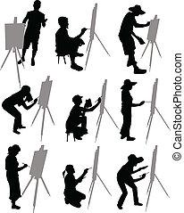 artista, pinturas, caballete