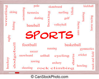 Sports Word Cloud Concept on a Whiteboard