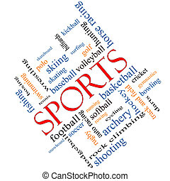 Sports Word Cloud Concept Angled - Sports Word Cloud Concept...