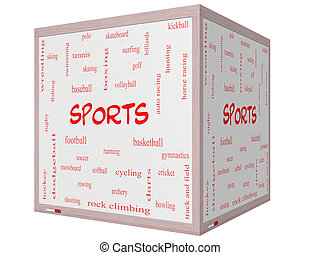 Sports Word Cloud Concept on a 3D cube Whiteboard with great...
