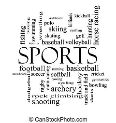 Sports Word Cloud Concept in black and white with great...