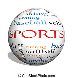 Sports 3D sphere Word Cloud Concept with great terms such as...