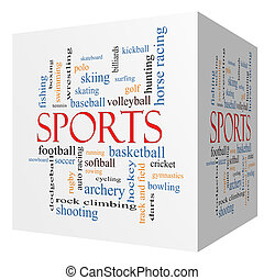 Sports 3D cube Word Cloud Concept with great terms such as...