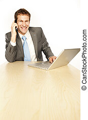 tele sales - Smiling customer service operator. Over white...