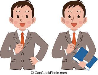 Businessmen smile