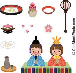 japoneses, boneca, Festival