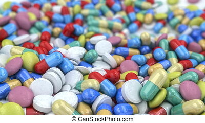 Pills and capsules dropped on a tab - Different pills and...