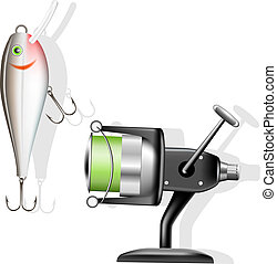 Fishing reel and wobbler Vector illustration