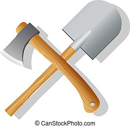 Spade and ax. Vector illustration