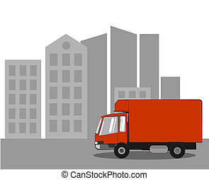 Delivery truck in the city - Red delivery service truck...