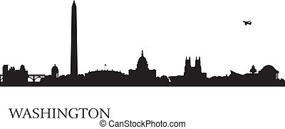 Washington city skyline silhouette background, vector...