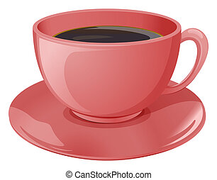 A cup of coffee - Illustration of a cup of coffee on a white...