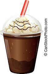A glass of iced coffee - Illustration of a glass of iced...
