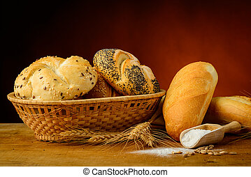 bread and pastries - still life with traditional bread and...