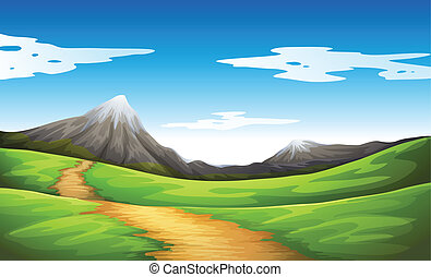 A pathway going to the mountain - Illustration of a pathway...